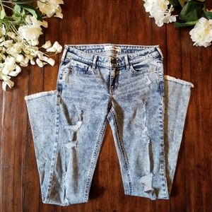 Hollister | Acid Wash Skinny Jean Frayed Hem sz 1